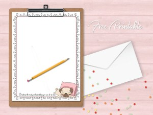 printable stationery page pug cartoon