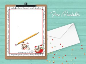 Printable Stationery Christmas Pugs In Sleigh Paper