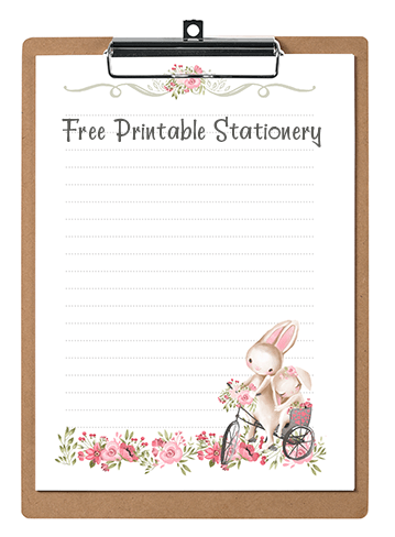 photo about Printable Watercolor Paper named Bunny Rabbits Red Bouquets Printable Stationery Watercolor Paper