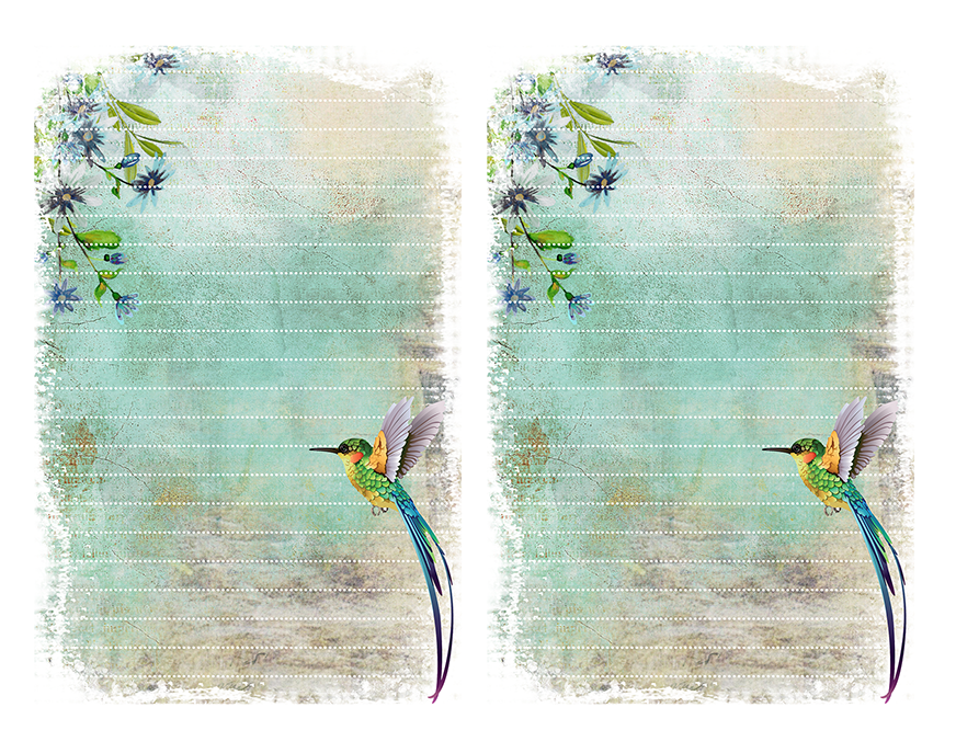 hummingbird stationery free printable paper