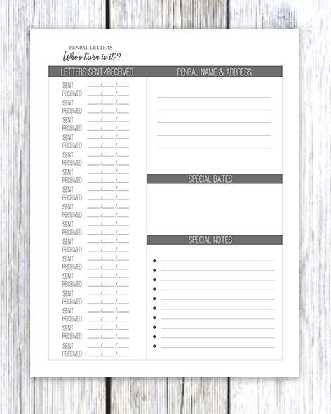 Printable Pen Pal Letter Tracker Journal