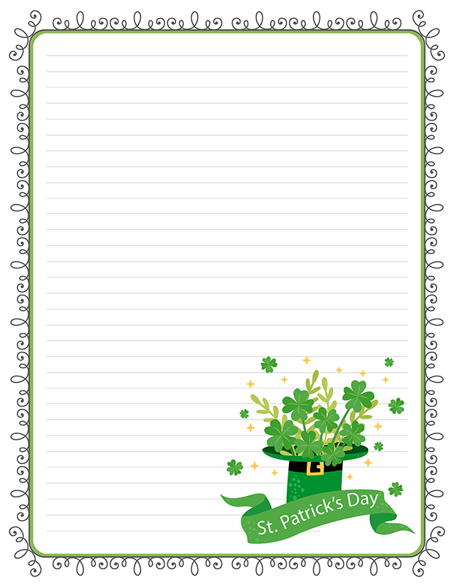 photograph regarding St Patrick's Day Clover Printable called St. Patricks Working day Free of charge Printable Protected Stationery