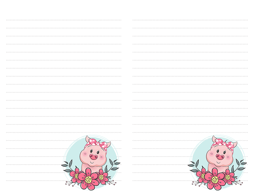 Cartoon Pig Pink Flowers Stationery