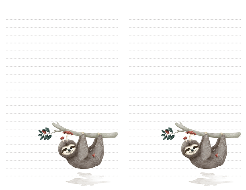 sloth stationery free printable