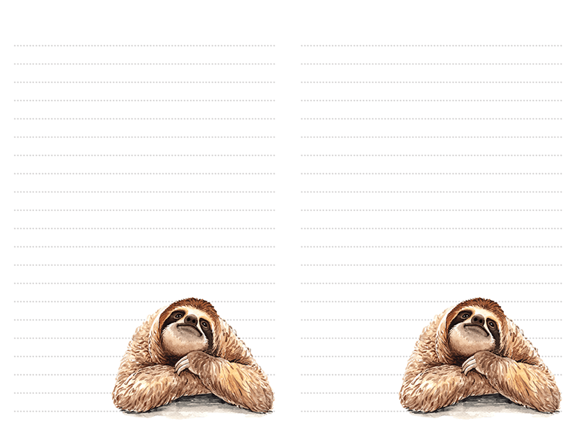 Watercolor Sloth Stationery Half Page