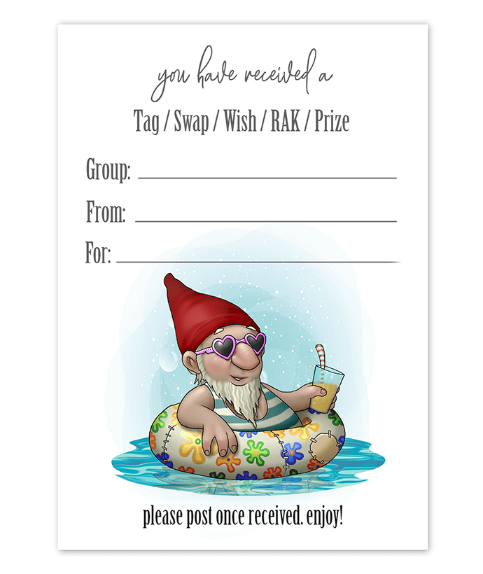 Beach Gnome Snail Mail Tag Inserts