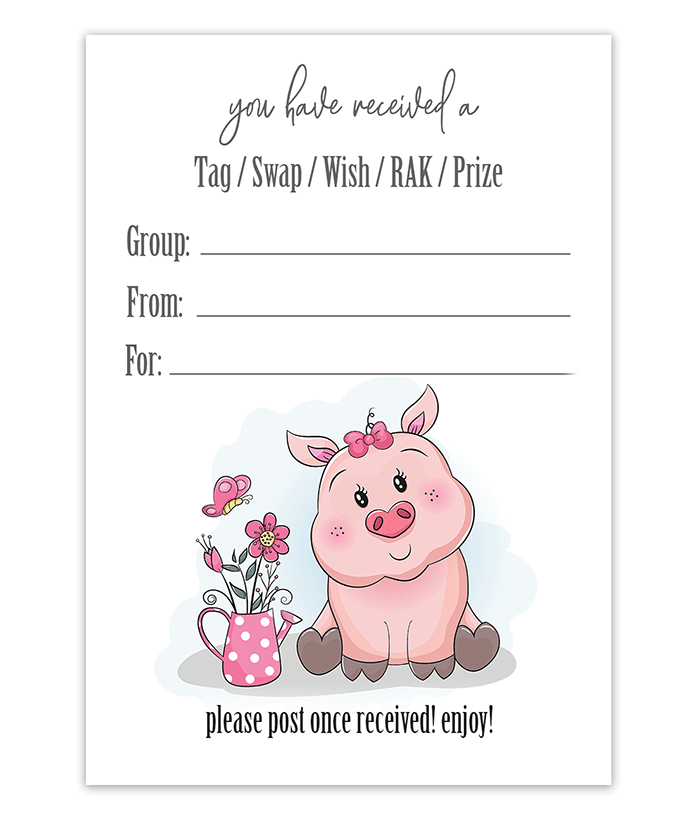 Cute Pig Mail Package Insert Printable