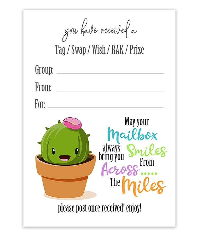 Kawaii Cactus SWAP insert tag facebook SWAP groups