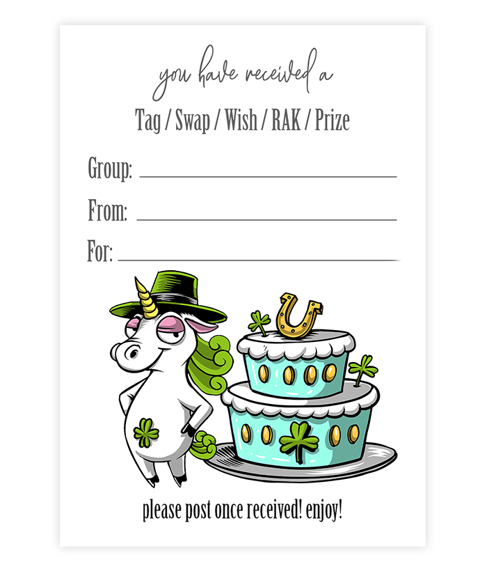 St. Patrick's Day Package Mail Insert Unicorn