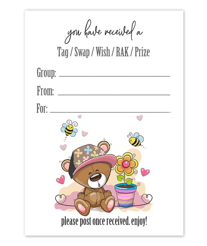 Teddy Bear Hat Snail Mail Tag Inserts