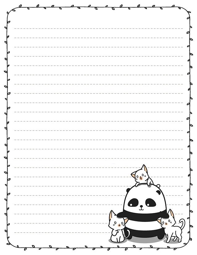 Kawaii Panda 8.5 x 11 Stationery