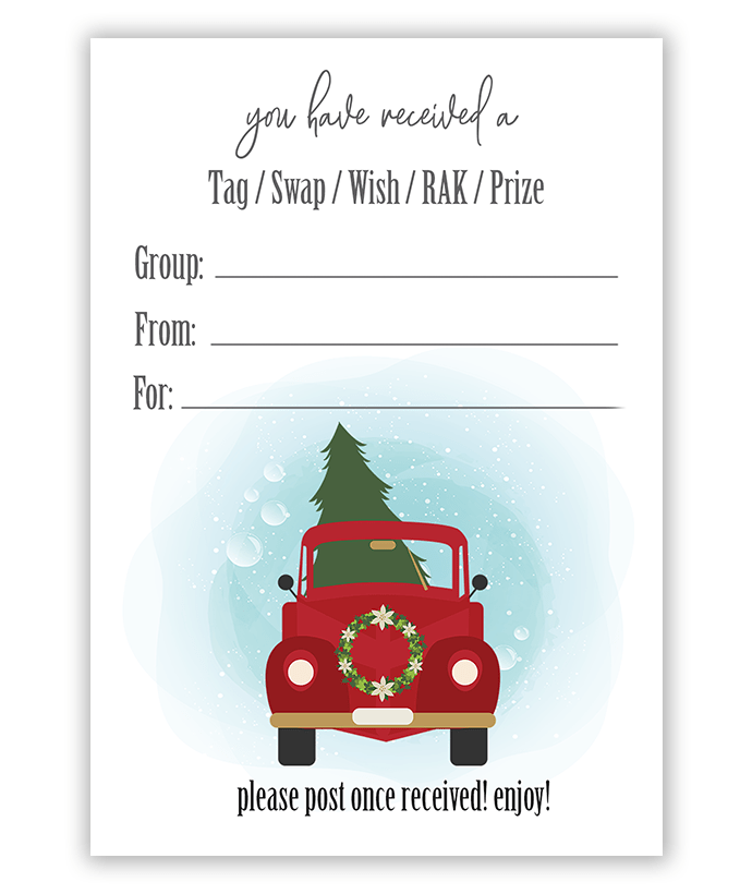 Red Christmas Truck Pen Pal Swap Tag