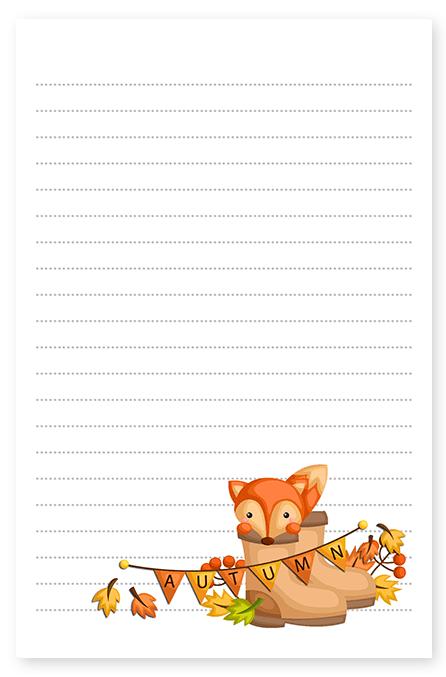 autumn fox stationery
