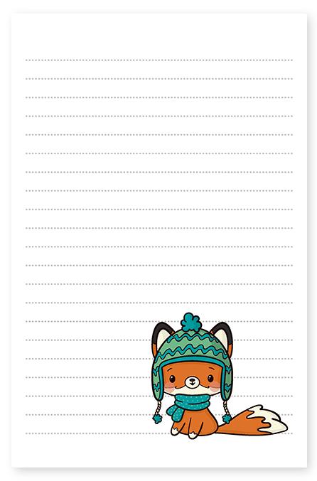 winter fox hat stationery