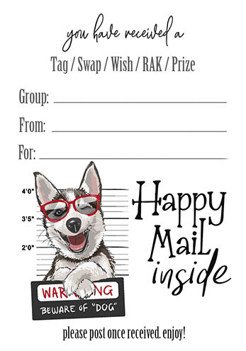 Husky Tag Insert Happy Mail Inside
