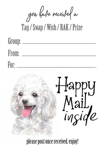 Miniature Poodle Tag Inserts