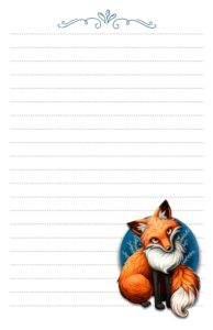 fox pen pal stationery half page