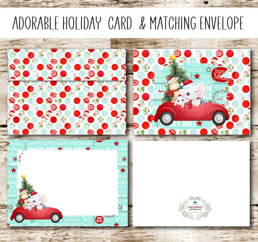 Free Printable Christmas Card With Matching Envelope