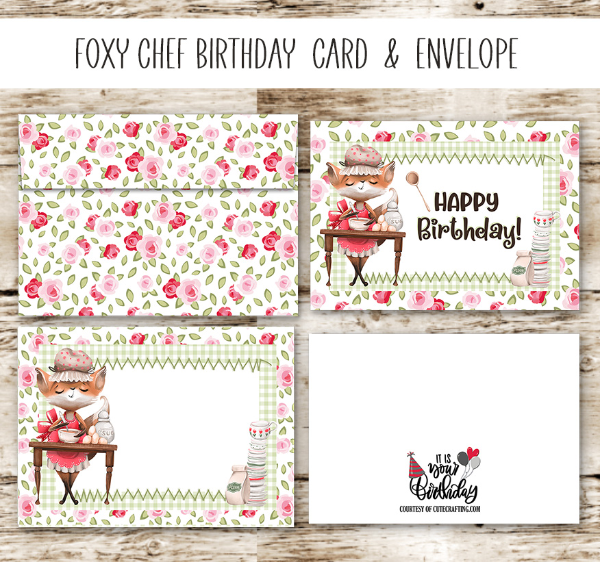 Foxy Chef Birthday Card Printable & Matching Envelope