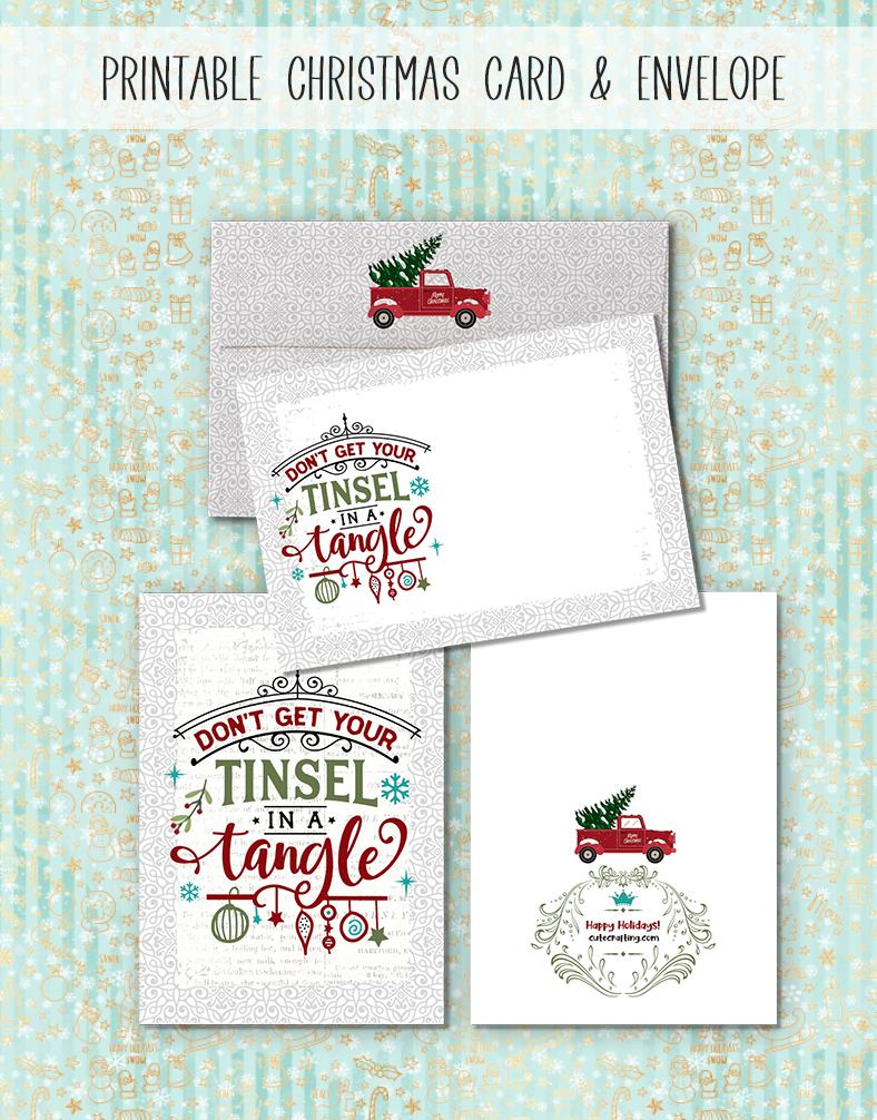 free printable Christmas card and envelope