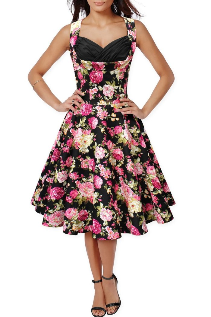 50s 60s Vintage Floral Print Divinity Rockabilly Swing Retro Dresses Pin Up - Black