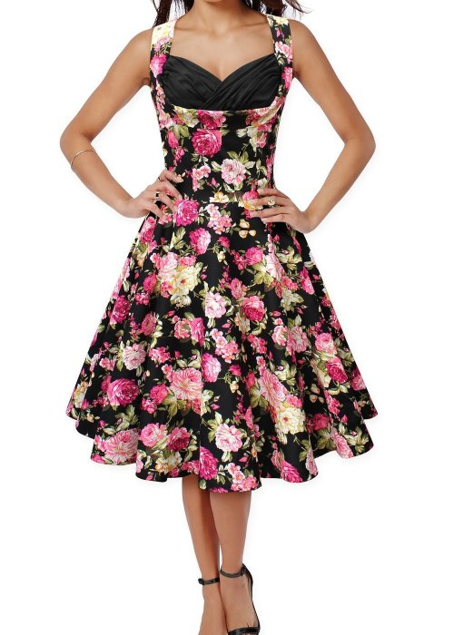 50s 60s Vintage Floral Print Divinity Rockabilly Swing Retro Dresses Pin Up - Black