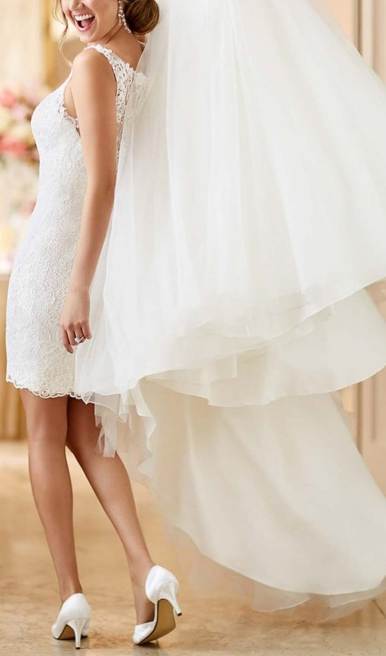 Two In One Detachable Train Lace Wedding Dresses