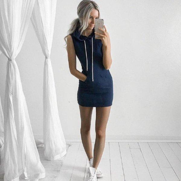 Summer Casual Sleeveless Hoody Dress