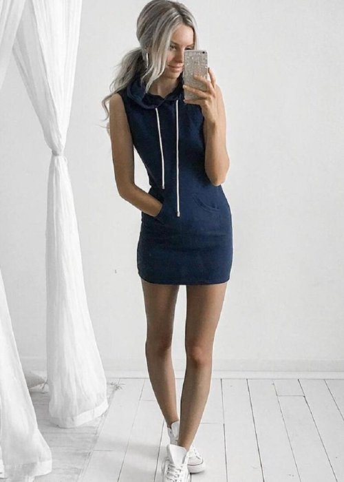 Summer Casual Sleeveless Hoody Dress
