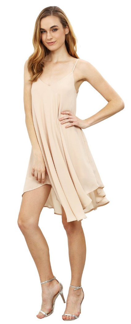 Summer Spaghetti Strap Sundress Sleeveless Beach Slip Dress beige