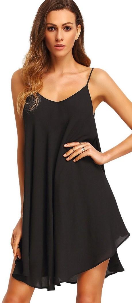 Summer Spaghetti Strap Sundress Sleeveless Beach Slip Dress Black