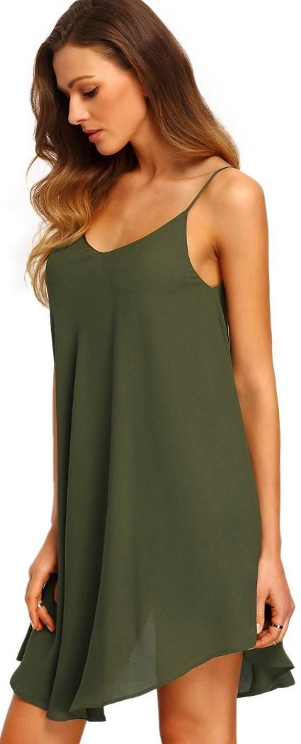 Summer Spaghetti Strap Sundress Sleeveless Beach Slip Dress Dark Green
