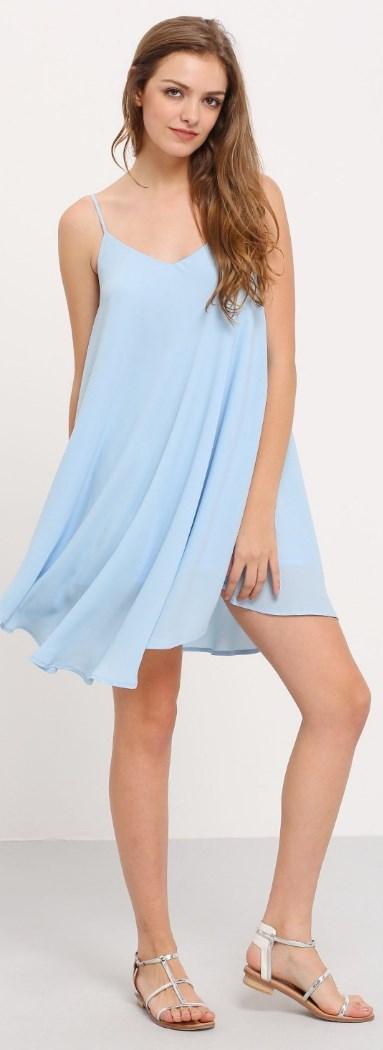 Summer Spaghetti Strap Sundress Sleeveless Beach Slip Dress Light Blue