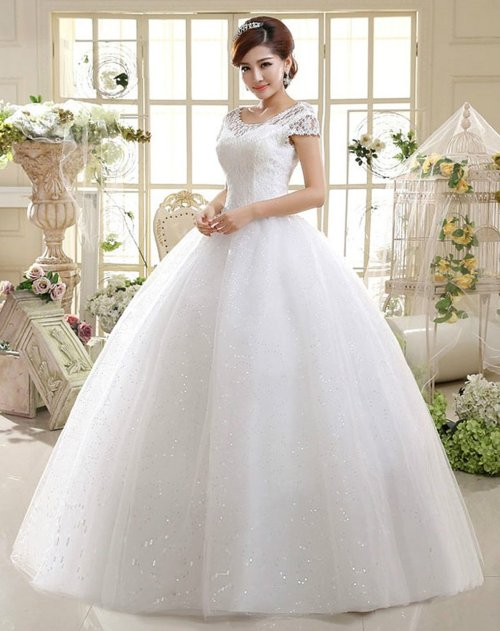 Double Shoulder Floor Length Bridal Gown Wedding Dress