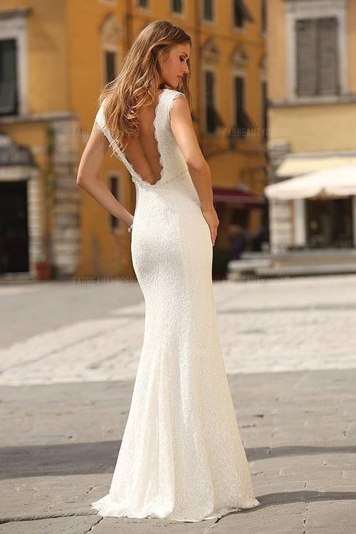 Sheath Column Scoop Floor Length Lace Wedding Dress Cute Dresses