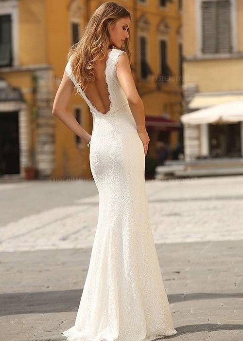 Sheath/Column Scoop Floor-length Lace Wedding Dress