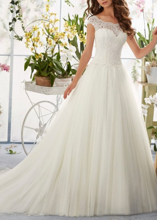Simple Long A-Line Cap Sleeve Train Lace Wedding Dress