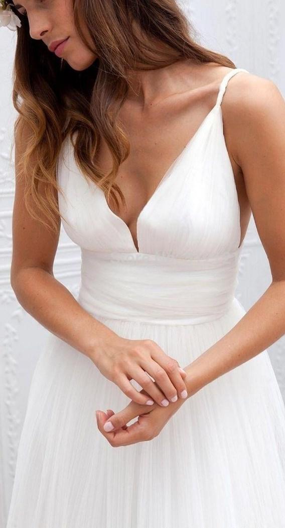 Spaghetti Straps Bridal Gown Garden Wedding Beach Style