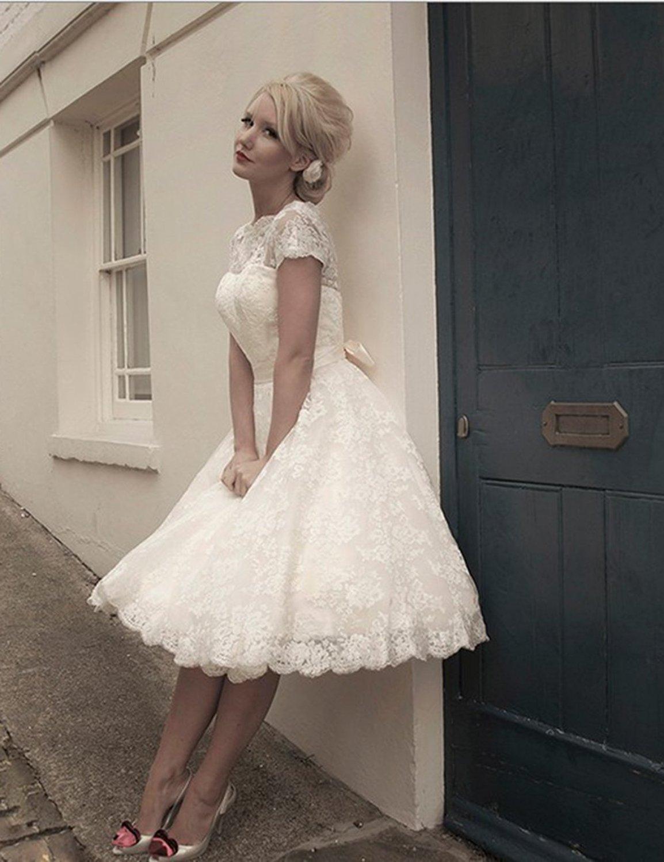 High neck Lace Short Vintage Wedding Dress   Cute Dresses