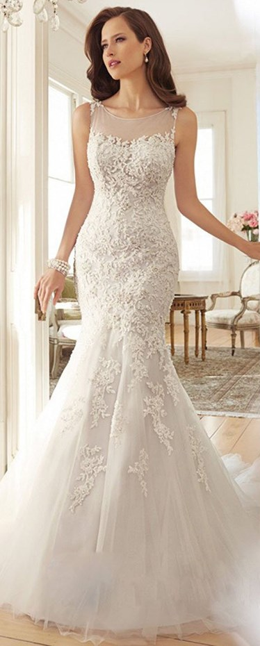 Scoop Appliques See-through Mermaid Bridal Gown