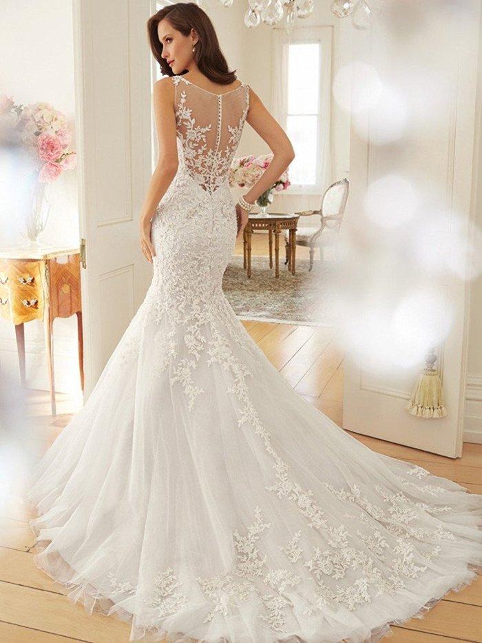 Scoop Appliques See-through Mermaid Bridal Gown