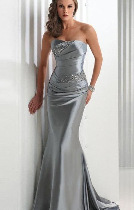 Strapless Train Elastic silk-like Satin Prom Dress