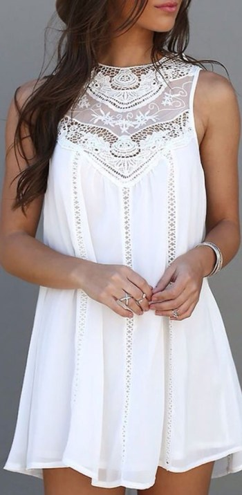 Cute Fashion Lace Hollow Splicing Pinafore Mini Dress