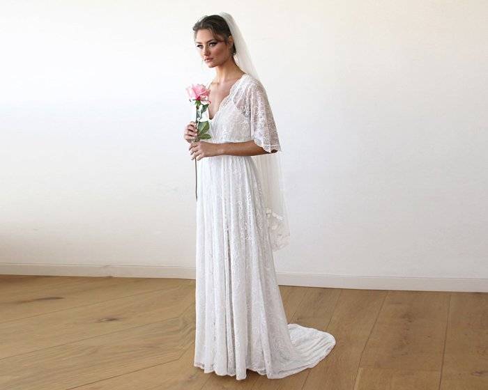 Floral Lace Ivory Sheer Maxi Dress With Train