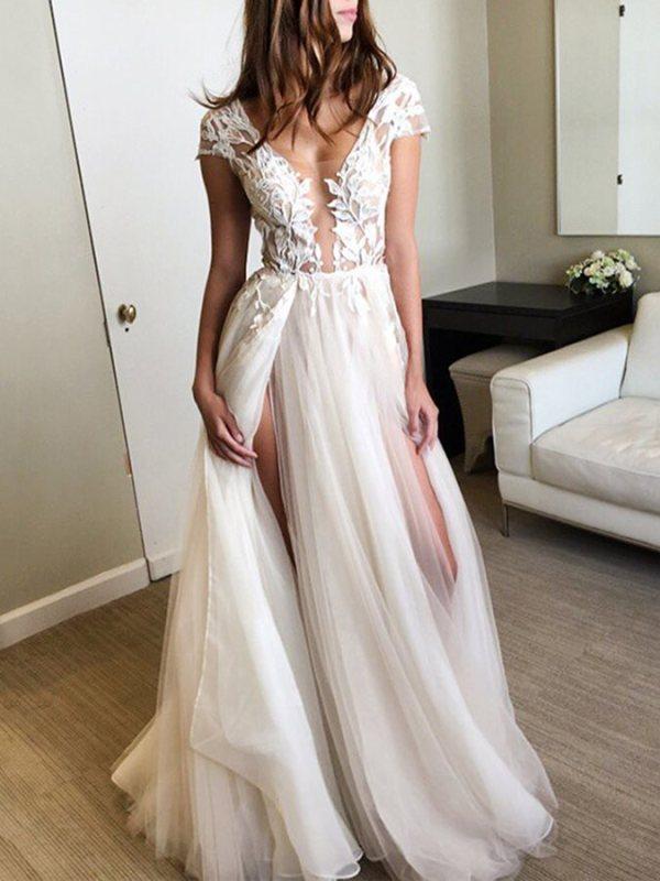 A-Line Appliques V-Neck Cap Sleeves Split-Front Prom Dress