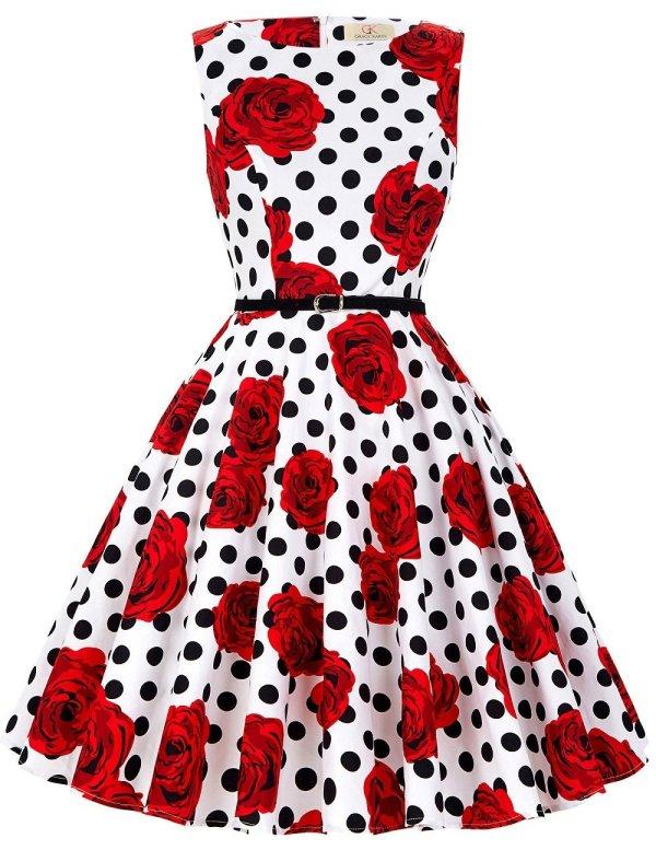 Boatneck Sleeveless Vintage Tea Dress With Belt Vintage Rose