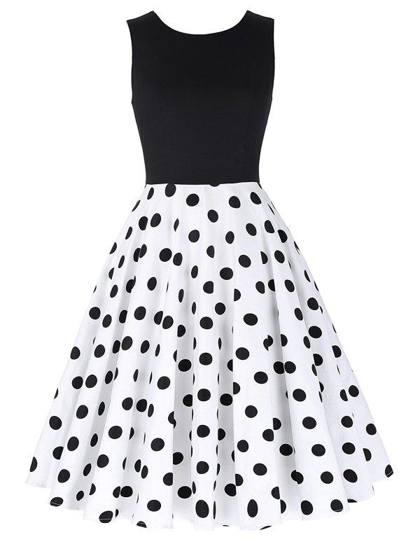Boatneck Sleeveless Vintage Tea Dress With Belt black dot