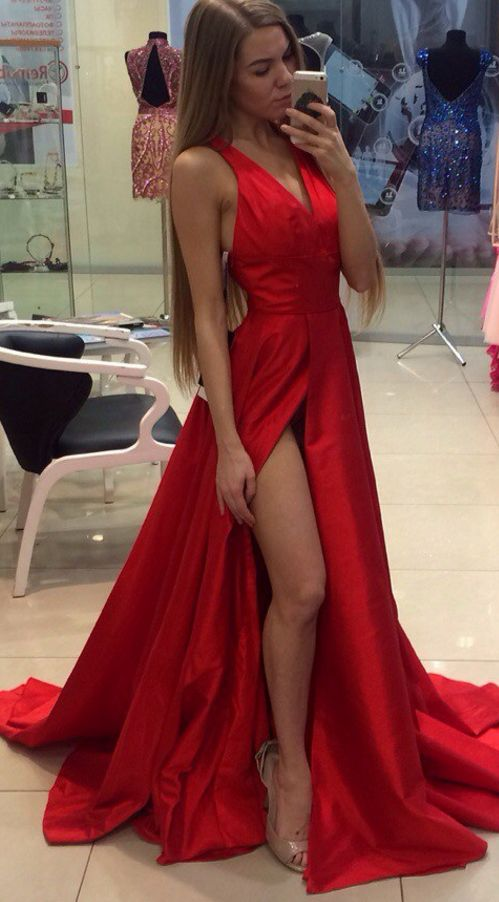 Sexy Red Prom Maxi Dress - Satin A-Line V-Neck Floor-Length