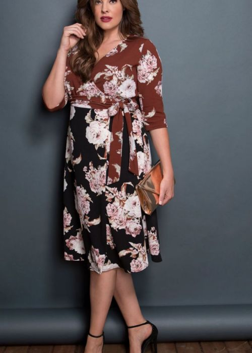 Plus Size Cocktail Floral Wrap Dress