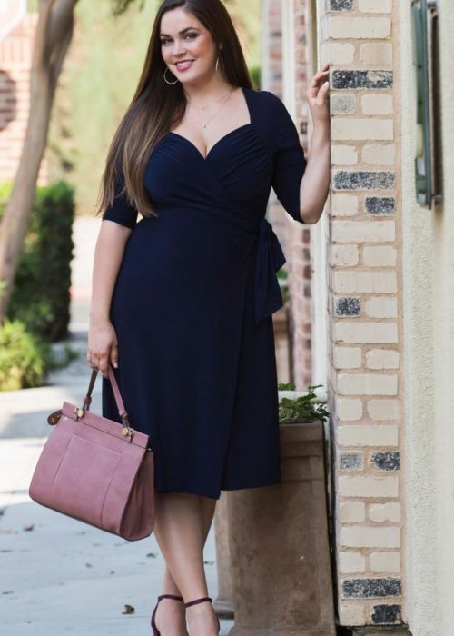 Plus Size Sweetheart Knit Wrap Dress